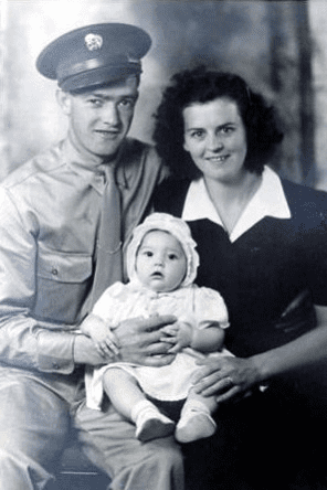 Sanford (Sam), baby Velma, and Pearl Cable - 1943