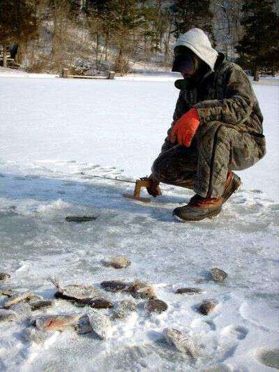 Ice fishing in central Missouri