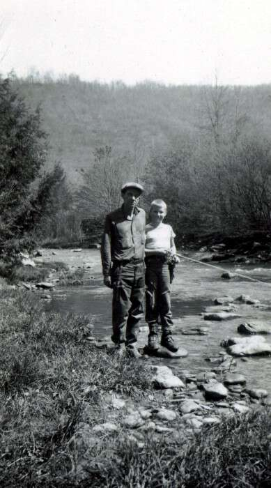 Photo of Bob Weekley and his father fishing in West Virginia