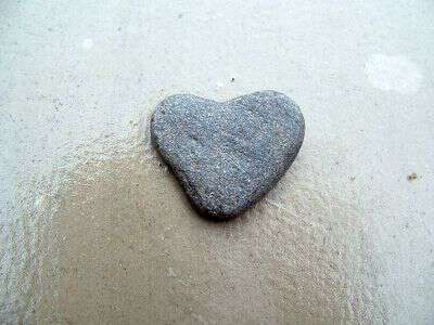 Collecting heart shaped rocks
