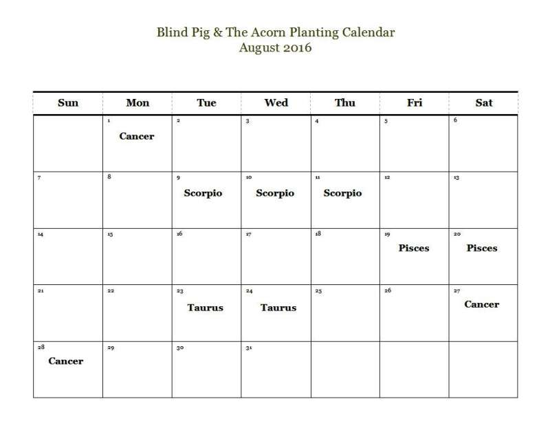 Planting by the signs calendar for August 2016