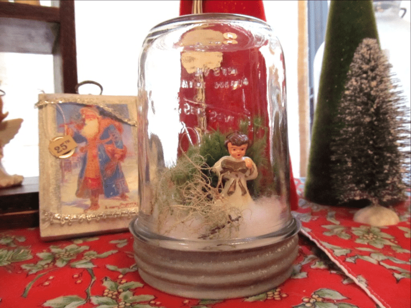 Christmas snow globe from mason jar