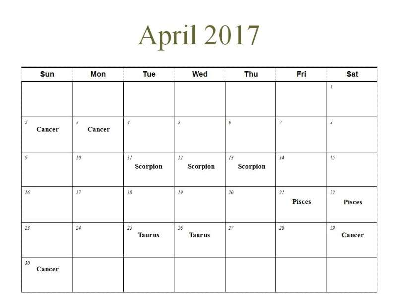 planting by the signs calendar april 2017