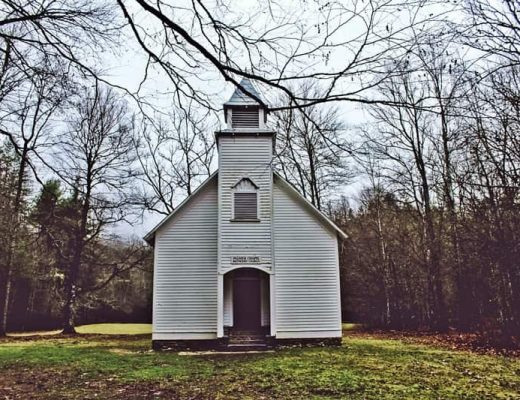 white church in field