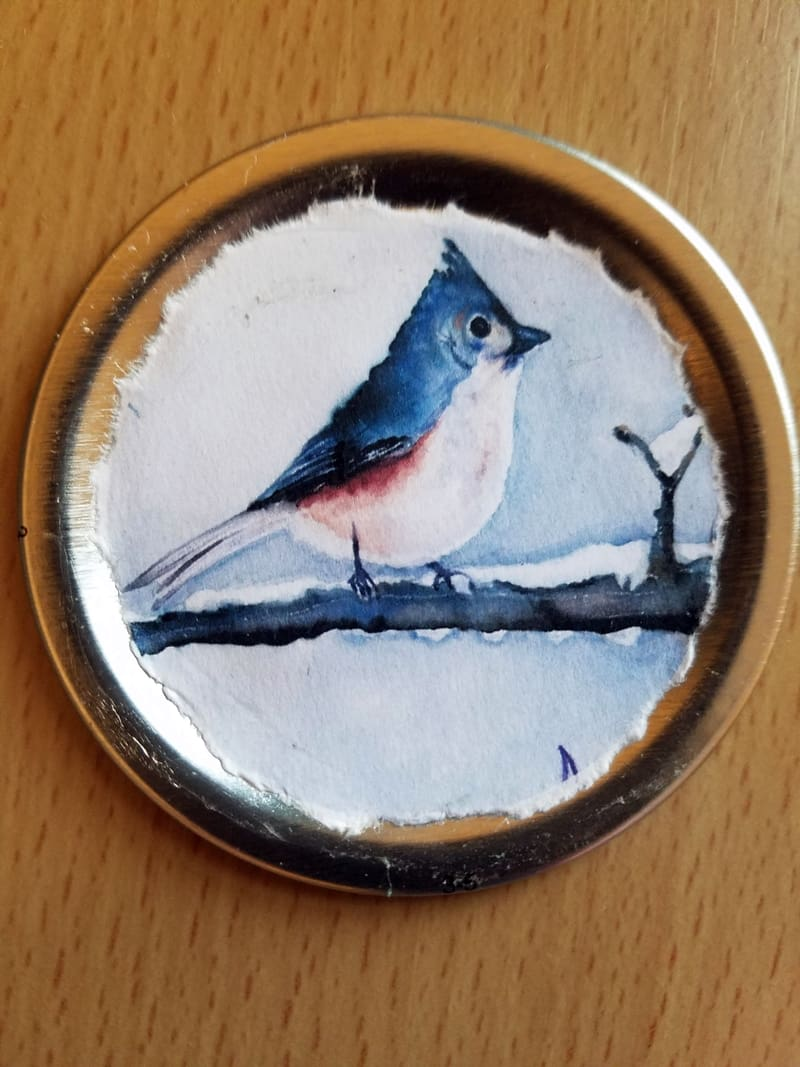 painted bird on magnet