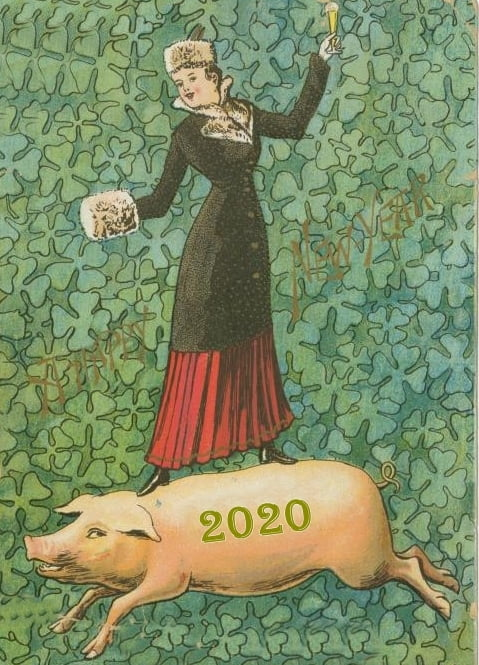 Women standing on pig