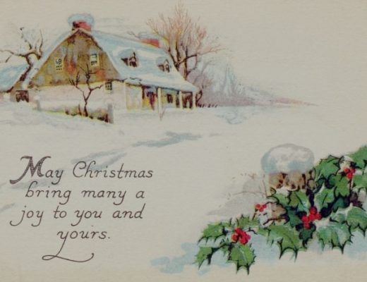 old christmas card with house and snow